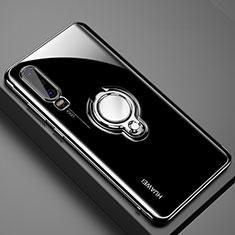 Coque Ultra Slim Silicone Souple Housse Etui Transparente avec Support Bague Anneau Aimante Magnetique C01 pour Huawei P30 Noir