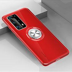 Coque Ultra Slim Silicone Souple Housse Etui Transparente avec Support Bague Anneau Aimante Magnetique C01 pour Huawei P40 Pro+ Plus Rouge