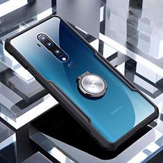 Coque Ultra Slim Silicone Souple Housse Etui Transparente avec Support Bague Anneau Aimante Magnetique C01 pour OnePlus 7T Pro Noir