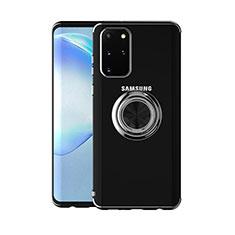Coque Ultra Slim Silicone Souple Housse Etui Transparente avec Support Bague Anneau Aimante Magnetique C01 pour Samsung Galaxy S20 Plus Noir