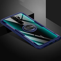 Coque Ultra Slim Silicone Souple Housse Etui Transparente avec Support Bague Anneau Aimante Magnetique C01 pour Xiaomi Redmi Note 8 Pro Bleu