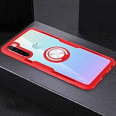 Coque Ultra Slim Silicone Souple Housse Etui Transparente avec Support Bague Anneau Aimante Magnetique C01 pour Xiaomi Redmi Note 8T Rouge
