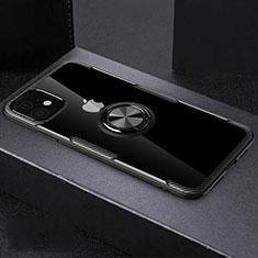 Coque Ultra Slim Silicone Souple Housse Etui Transparente avec Support Bague Anneau Aimante Magnetique C02 pour Apple iPhone 11 Noir