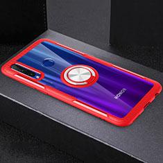 Coque Ultra Slim Silicone Souple Housse Etui Transparente avec Support Bague Anneau Aimante Magnetique C02 pour Huawei Honor 20 Lite Rouge