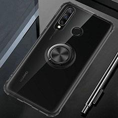 Coque Ultra Slim Silicone Souple Housse Etui Transparente avec Support Bague Anneau Aimante Magnetique C02 pour Huawei P30 Lite Noir