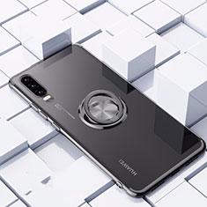Coque Ultra Slim Silicone Souple Housse Etui Transparente avec Support Bague Anneau Aimante Magnetique C02 pour Huawei P30 Noir