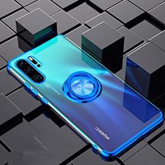 Coque Ultra Slim Silicone Souple Housse Etui Transparente avec Support Bague Anneau Aimante Magnetique C02 pour Huawei P30 Pro Bleu