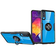 Coque Ultra Slim Silicone Souple Housse Etui Transparente avec Support Bague Anneau Aimante Magnetique C02 pour Samsung Galaxy A90 5G Noir