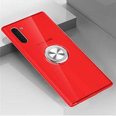 Coque Ultra Slim Silicone Souple Housse Etui Transparente avec Support Bague Anneau Aimante Magnetique C02 pour Samsung Galaxy Note 10 5G Rouge