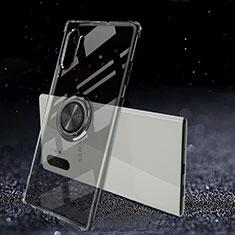 Coque Ultra Slim Silicone Souple Housse Etui Transparente avec Support Bague Anneau Aimante Magnetique C02 pour Samsung Galaxy Note 10 Plus 5G Noir