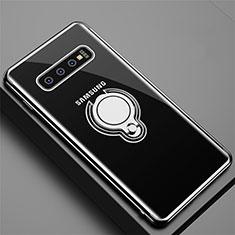 Coque Ultra Slim Silicone Souple Housse Etui Transparente avec Support Bague Anneau Aimante Magnetique C02 pour Samsung Galaxy S10 Noir