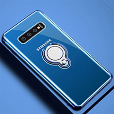 Coque Ultra Slim Silicone Souple Housse Etui Transparente avec Support Bague Anneau Aimante Magnetique C02 pour Samsung Galaxy S10 Plus Bleu