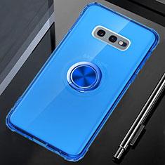 Coque Ultra Slim Silicone Souple Housse Etui Transparente avec Support Bague Anneau Aimante Magnetique C02 pour Samsung Galaxy S10e Bleu