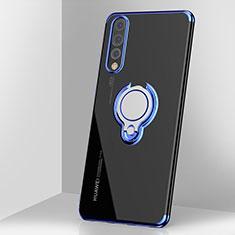 Coque Ultra Slim Silicone Souple Housse Etui Transparente avec Support Bague Anneau Aimante Magnetique C03 pour Huawei P20 Pro Bleu