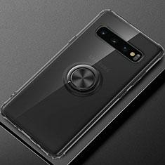 Coque Ultra Slim Silicone Souple Housse Etui Transparente avec Support Bague Anneau Aimante Magnetique C03 pour Samsung Galaxy S10 Plus Noir