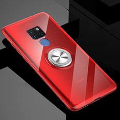 Coque Ultra Slim Silicone Souple Housse Etui Transparente avec Support Bague Anneau Aimante Magnetique C04 pour Huawei Mate 20 X 5G Rouge