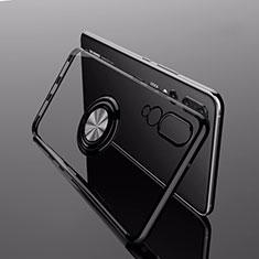 Coque Ultra Slim Silicone Souple Housse Etui Transparente avec Support Bague Anneau Aimante Magnetique C04 pour Huawei P20 Pro Noir