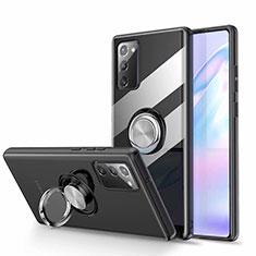 Coque Ultra Slim Silicone Souple Housse Etui Transparente avec Support Bague Anneau Aimante Magnetique N02 pour Samsung Galaxy Note 20 5G Noir