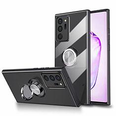 Coque Ultra Slim Silicone Souple Housse Etui Transparente avec Support Bague Anneau Aimante Magnetique N02 pour Samsung Galaxy Note 20 Ultra 5G Noir