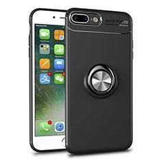Coque Ultra Slim Silicone Souple Housse Etui Transparente avec Support Bague Anneau Aimante Magnetique S01 pour Apple iPhone 7 Plus Noir