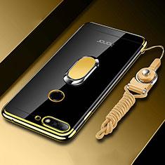 Coque Ultra Slim Silicone Souple Housse Etui Transparente avec Support Bague Anneau Aimante Magnetique S01 pour Huawei Honor 7A Or