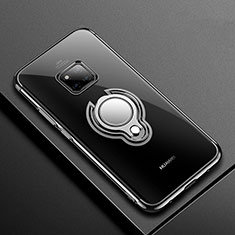 Coque Ultra Slim Silicone Souple Housse Etui Transparente avec Support Bague Anneau Aimante Magnetique S01 pour Huawei Mate 20 Pro Noir
