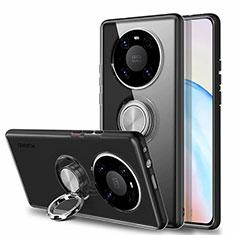 Coque Ultra Slim Silicone Souple Housse Etui Transparente avec Support Bague Anneau Aimante Magnetique S01 pour Huawei Mate 40 Noir