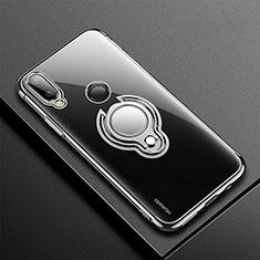 Coque Ultra Slim Silicone Souple Housse Etui Transparente avec Support Bague Anneau Aimante Magnetique S01 pour Huawei P20 Lite Noir