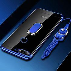 Coque Ultra Slim Silicone Souple Housse Etui Transparente avec Support Bague Anneau Aimante Magnetique S01 pour Huawei Y6 (2018) Bleu