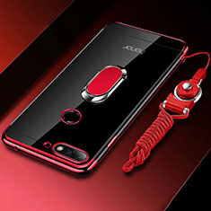 Coque Ultra Slim Silicone Souple Housse Etui Transparente avec Support Bague Anneau Aimante Magnetique S01 pour Huawei Y6 (2018) Rouge
