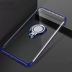 Coque Ultra Slim Silicone Souple Housse Etui Transparente avec Support Bague Anneau Aimante Magnetique S01 pour Oppo A71 Bleu