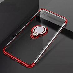 Coque Ultra Slim Silicone Souple Housse Etui Transparente avec Support Bague Anneau Aimante Magnetique S01 pour Oppo A71 Rouge