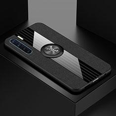 Coque Ultra Slim Silicone Souple Housse Etui Transparente avec Support Bague Anneau Aimante Magnetique S01 pour Oppo A91 Noir