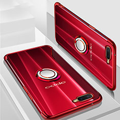 Coque Ultra Slim Silicone Souple Housse Etui Transparente avec Support Bague Anneau Aimante Magnetique S01 pour Oppo K1 Rouge