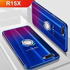 Coque Ultra Slim Silicone Souple Housse Etui Transparente avec Support Bague Anneau Aimante Magnetique S01 pour Oppo R15X Bleu