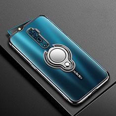 Coque Ultra Slim Silicone Souple Housse Etui Transparente avec Support Bague Anneau Aimante Magnetique S01 pour Oppo Reno 10X Zoom Noir
