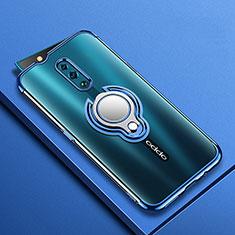 Coque Ultra Slim Silicone Souple Housse Etui Transparente avec Support Bague Anneau Aimante Magnetique S01 pour Oppo Reno Bleu