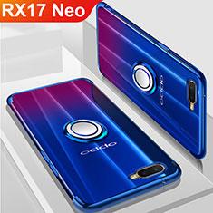 Coque Ultra Slim Silicone Souple Housse Etui Transparente avec Support Bague Anneau Aimante Magnetique S01 pour Oppo RX17 Neo Bleu