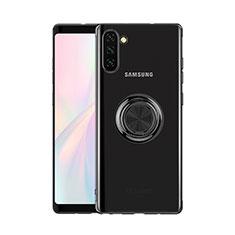 Coque Ultra Slim Silicone Souple Housse Etui Transparente avec Support Bague Anneau Aimante Magnetique S01 pour Samsung Galaxy Note 10 Noir
