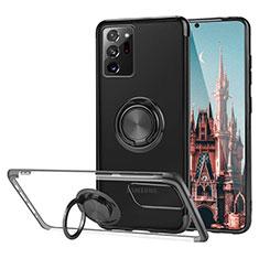 Coque Ultra Slim Silicone Souple Housse Etui Transparente avec Support Bague Anneau Aimante Magnetique S01 pour Samsung Galaxy Note 20 Ultra 5G Noir