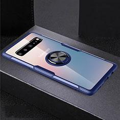 Coque Ultra Slim Silicone Souple Housse Etui Transparente avec Support Bague Anneau Aimante Magnetique S01 pour Samsung Galaxy S10 5G SM-G977B Bleu et Noir