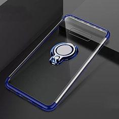 Coque Ultra Slim Silicone Souple Housse Etui Transparente avec Support Bague Anneau Aimante Magnetique S01 pour Samsung Galaxy S10 Plus Bleu
