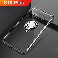 Coque Ultra Slim Silicone Souple Housse Etui Transparente avec Support Bague Anneau Aimante Magnetique S01 pour Samsung Galaxy S10 Plus Noir