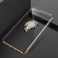 Coque Ultra Slim Silicone Souple Housse Etui Transparente avec Support Bague Anneau Aimante Magnetique S01 pour Samsung Galaxy S10 Plus Or