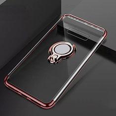 Coque Ultra Slim Silicone Souple Housse Etui Transparente avec Support Bague Anneau Aimante Magnetique S01 pour Samsung Galaxy S10 Plus Or Rose