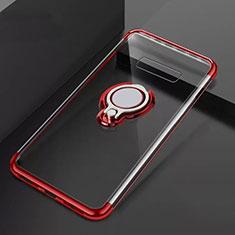 Coque Ultra Slim Silicone Souple Housse Etui Transparente avec Support Bague Anneau Aimante Magnetique S01 pour Samsung Galaxy S10 Plus Rouge