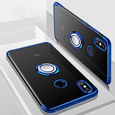 Coque Ultra Slim Silicone Souple Housse Etui Transparente avec Support Bague Anneau Aimante Magnetique S01 pour Xiaomi Mi Max 3 Bleu