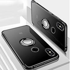 Coque Ultra Slim Silicone Souple Housse Etui Transparente avec Support Bague Anneau Aimante Magnetique S01 pour Xiaomi Mi Max 3 Noir