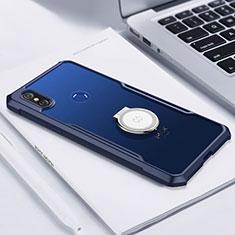 Coque Ultra Slim Silicone Souple Housse Etui Transparente avec Support Bague Anneau Aimante Magnetique S01 pour Xiaomi Mi Mix 3 Bleu