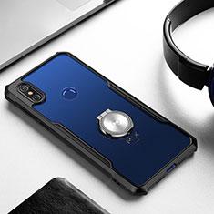 Coque Ultra Slim Silicone Souple Housse Etui Transparente avec Support Bague Anneau Aimante Magnetique S01 pour Xiaomi Mi Mix 3 Noir
